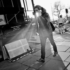 Day 18. Hello, Ray speaking. (Rob Emes) Tags: black bw flare sun street 365 iphone iphoneography iphone6 square urban city mono phone london jan2017