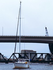 """Sum Of A Sailor"" (bMi2fotografx) Tags: construction anchor wait moment hull sail tomorrow vessel boat smooth serene bridgeclosed brisk saintjohns river florida jacksonville downtown"