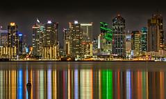 San Diego Skyline (danielledufour430) Tags: california sandiego downtown bay sandiegobay reflection lights vibrant colors hdr landscape cityscape sonya6000 coast night longexposure