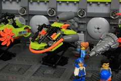 PM Race Team (soccersnyderi) Tags: lego power miners moc creation model speeder bike race team garage bay maintenance scifi interior