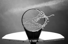 Swish (bboneyardd) Tags: blackandwhite black white monochrome net basketball basket ball swish sky clouds nikond5200 nikkor2880mm rusty rust rustic school winter day windy old
