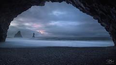Basalt in blue (Steve Clasper) Tags: reynisdrangar sea stacks iceland blue morning dawn cave basalt roadtrip steveclasper pano coast coastal