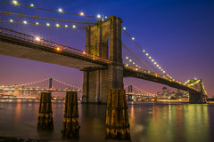 The Brooklyn Bridge at night with the Manhattan Bridge in the background, New York City, USA. (pedro lastra) Tags: city bridge building architecture night outdoor infrastructure skyine