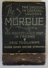 THE MORGUE FRESNO CALIF (FRONT) (ussiwojima) Tags: california bar advertising lounge cocktail fresno morgue matchbook themorgue matchcover