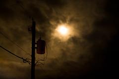 Beautiful Transformer (Truebritgal) Tags: wood longexposure light orange cloud brown moon black silhouette night dark wire beige glow moody transformer tripod pole nighttime nikkor utilitypole drifting 18200mm utilityline truebritgal nikond7100