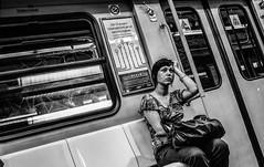studio di fanciulla balcanica assorta (pino piedimonte) Tags: portrait bw italy sexy girl monocromo blackwhite donna italia alone milano ritratto biancoenero ragazza monocrome metrò canon450d neroametà metropolitanamilano licwip pinopiedimonte