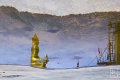 BUILDING FAITH (Imaginoor Photography) Tags: travel sky reflection thailand temple gold construction scaffolding god faith flags phuket buddah shehab hossain imaginoorphotography