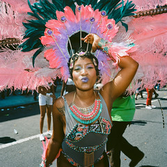 West Indian Parade 2015 (slightheadache) Tags: nyc newyorkcity party art mamiya film beautiful brooklyn analog women feathers celebration masquerade filmcamera westindian laborday 2015 masqueraders westindiandayparade mamiya6mf ektar100 nycanalog