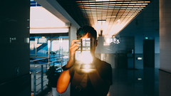 Mirror (stanley yuu) Tags: city school people man mirror friend 28mm taiwan gr   ricoh