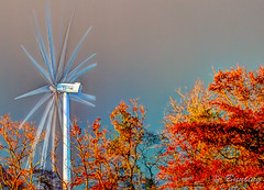 University of Delaware Wind Turbine in Lewes (stevebfotos) Tags: autumn sunset fall home multipleexposure turbine hdr lewes canarycreek stackedandblended