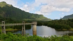 The Tower (photawwgraphy) Tags: travel blue vacation sky lake mountains green tower tourism nature wet water architecture clouds hawaii colours oahu surreal naturallight panoramic hills cinematic windwardcoast