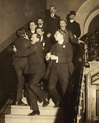 A male suffragist ejected from a public meeting, c.1907-1914.