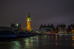 The Thames by Night (Andr Jardinire) Tags: longexposure bridge london clock water westminster thames night canon river prime bigben southbank pancake csc 22mm eosm mirrorless