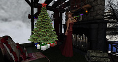 A short Christmas ghost story (Teddi Beres) Tags: life christmas xmas winter snow tree stockings cozy fireplace candles sinister jewelry creepy spooky sl present second gown jewels gems likes