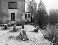 Frosty Fable (bjorbrei) Tags: unicorn lion sculptures frost cold winter oldbuildings trees water river shore frysja kjelsås akerselva oslo norway