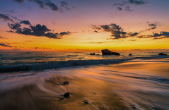 Golden Sand (Alex Apostolopoulos) Tags: landscape longexposure sunset flow sand seascape waves beach sky movement clouds cyprus sony sonya6000 ilce6000 samyang samyang12mmf20ncscs haidand30 manfrottobefree