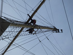Climbing the mast.... (Sue - happy sparrow) Tags: mast rigging tallship sea ship sailingship sailing climbingthemast pelican weymouth weymouthharbour harbour dorset