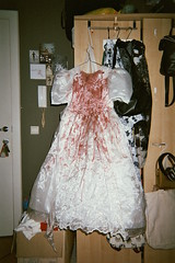 My first wedding dress (Ami Van Caelenberg) Tags: analog analogue disposable disposablecamera fujifilm ghent dress wedding weddingdress white blood stain bloodstain halloween costume bride horror vintage vintagedress clothes clothing outfit fakeblood red indoor party thrifting secondhand lace film