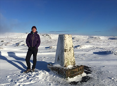 2 of 52 trig points (Ron Layters) Tags: 2017 ronlayters selfportrait 52trigpoints brownknoll trigpoint winter snow cold sun icy frozen moorland moor kinderscout pillar tp1707 fbs2782 edale derbyshire england unitedkingdom 52weeks 52 phonecamera iphone apple appleiphone6 selftimer tripod 10secondtimer weektwo highestpositioninexplore152onmondayjanuary162017 explore interesting