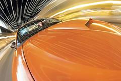 The Lights Over Broughton Street, Take 2 (budrowilson) Tags: strobist canon eos7dmarkii rokinon8mmf35fisheye fordmustanggt orange nighttime driving selfportrait we1wifiadapter rigwheelsrigmountx4 vehicle car savannahga