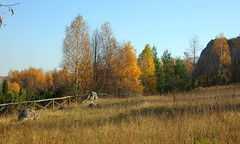 The  grassland (Hejma (+/- 5200 faves and 1,6 milion views)) Tags: historical watchtower soldering jura tree scrub grassland pastures fence autumn colors chiaroscuro