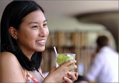 """Mojito Makes Me Smile"" Circular Quay, Sydney, Australia (January 2017) (Kommie) Tags: asian vietnamese girl lady woman circular quay opera bar sydney australia mojito cocktail summer fujifilm xpro2 fujinon 90mm f2 r wr bokeh"