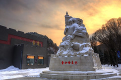 Statue of general Qi-JiGuang (Pic_Joy) Tags: 亚洲 中国 河北 金山岭长城 asia china hebei jinshanling greatwall snow 雪 雪景 戚继光