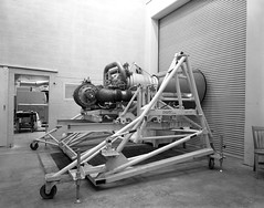 Atlas Collection Image (San Diego Air & Space Museum Archives) Tags: forbesafb site548mab 1961 enginestand rocketmotor liquidfueled groundsupportequipment atlas corrugatedrollupdoor grate cinderblock