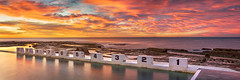 Merewether-Numbers (Trevor Tutt) Tags: ocean longexposure panorama sun colour water clouds sunrise newcastle rocks panoramic blocks oceanbaths merewetherbaths trevortutt