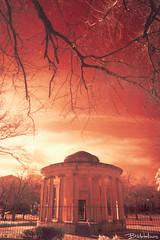 Maitland Monument - infrared (Bill-Metallinos) Tags: old city travel red sky orange english monument architecture square ir island islands town europe unesco greece infrared british prefecture corfu periphery maitland ionian mediteranean kerkira spianada metallinos