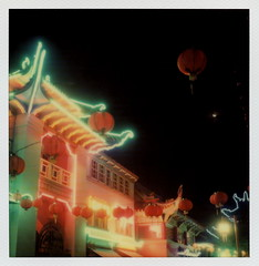 Chinatown Eclipse (tobysx70) Tags: california ca plaza old autumn toby 2 test moon color fall film sign night project way polaroid sx70 for la eclipse los blood october downtown neon chinatown nocturnal angeles central chinese luna illuminated full tip day1 cameras lanterns type instant week lit 20 hancock gin gen pioneer lunar ling generation dtla impossible roid the gen2 2015 0515 polaroidweek roidweek tobyhancock impossaroid