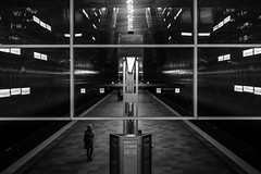 Getting framed / Symmetry (zgr Grgey) Tags: bw reflection texture lines station subway 50mm frames nikon hamburg symmetry d750 darkcity 2015 berseequartier