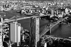 Brooklyn & Manhattan Bridges viewed from One World Observatory (nianci pan) Tags: city nyc bridge urban bw newyork skyline architecture landscape manhattan bridges brooklynbridge manhattanbridge pan   citscape  sonyalphadslr    nianci sonyphotographing