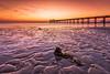 Golden sunrise (Muhammad Al-Qatam) Tags: nikon d810 muhammadalqatam kuwait sunrise hdr pier light golden