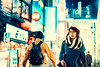 Cold Evening In Shibuya (Jon Siegel) Tags: nikon nikkor d810 50mm 12 nikon50mmf12ais 50mmf12 ais woman girl man boy walking pedestrians people street candid cold night evening shibuya tokyo japan japanese neon glowing