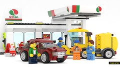 LEGO 60132-1: Service Station (Octan) (-mekanik) Tags: lego truck fineart hobby servicecar legocar rendering 3dmodeling bricks build vehicle car gasstation hobbycraft toy