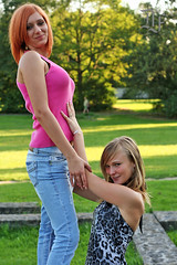 """On her knees"" (dieter felber - kempten) Tags: portrait outdoor girls women sexy boos jeans submissive domination lesbian blond finger redhead girlgirl"