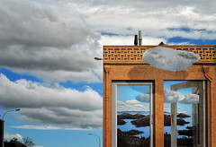 Architectural Mimicry (Peter Kurdulija) Tags: geo:lat=4127063190 geo:lon=17328396530 geotagged nelson nelsoneast newzealand nzl tasmandistrict new zealand tasman region city urban building mural public art blue sky white cloud mimicry blending travel sun kurdulija