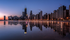 Frozen city (urbanexpl0rer) Tags: cityscape city skyline skyscrapers urbanlandscape urban water lake frozenwater reflection reflections morning dusk longexposure fullframe a7rii chicago illinois america northamerica winter