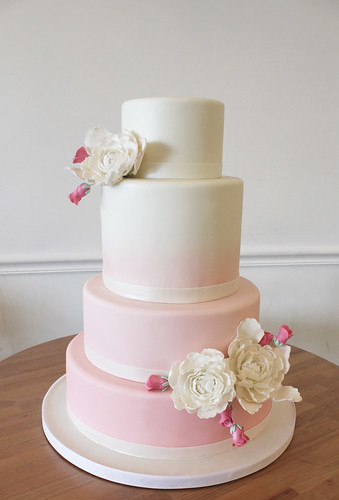 Peonies and Rosebuds Ombre Wedding Cake
