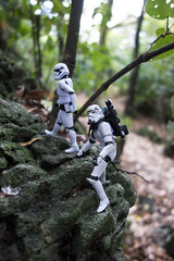 Day 24: Scambling in the forest (Armchair Caver) Tags: starwars actionfigures stormtrooper 365project rocks forest scrambling