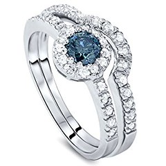 1.00CT Blue & White Diamond Engagement Ring Set 14K White Gold (goodies2get2) Tags: 500to1000 amazoncom bestsellers diamond gold