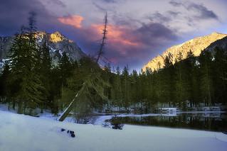 Sunset at winter lake