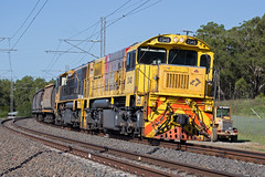 Round the curve (PJ Reading) Tags: aurizon train rail railway transport transportation goods freight cargo bulk west western 2300class diesel locomotive wagons rosewood toowoomba coal port export brisbane loaded walloon
