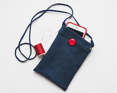 Work in Progress (Explored) (lclower19) Tags: iphone pouch imadethis denim blue red thread button 1052 522017 explored