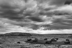 Walk among us self-made gods (OR_U) Tags: 2017 oru iceland bw blackandwhite blackwhite schwarzweiss sky clouds weather stonecircle standingstones layby restarea landscape meshuggah drama