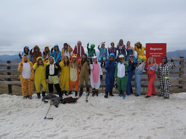 Treble Cone Closing Day, Group Onsie Photo (29 Sept 2013)