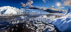 Ice Age (Traylor Photography) Tags: park blue autumn panorama sun mountain lake snow cold fall ice nature water rock alaska iceage clouds landscape star ancient day wide palmer september glacier trail sunburst glennhighway