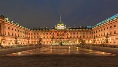 Somerset House, London (Wizard CG) Tags: road city uk blue house building london horizontal architecture night century buildings outside outdoors hall open shot britain outdoor magic great fine somerset courtyard 18th palace hour fountains complex neoclassical somersethouselondonenglandcapitalcityneoclassicalarchitectureenglisharchitecturebuildingsomersethouse