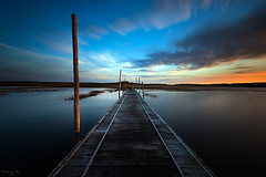 Bridge (Tony N.) Tags: wood bridge sunset sea sky mer lagune france water colors clouds eau europe couleurs lagoon ciel pont nuages bois coucherdesoleil manfrotto vende d810 nd110 tonyn lafautesurmer nikkor1635f4 tonynunkovics